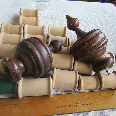 Antique 2 Finial Lot Architectural Salvage Wooden Curtain Rod ends Craft Decor