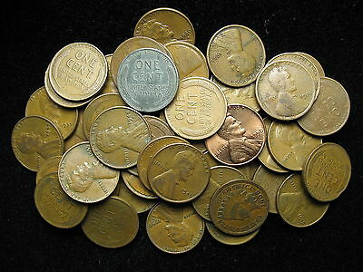 - 50 Lincoln Wheat Pennies - One Free Indian Head Cent Included With Each Lot -