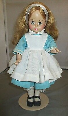 "Madame Alexander Alice Doll 13"" tall In Wonderland w doll stand"