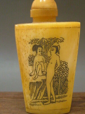 """Chinese hand-carved Antique Vintage Cattle bone snuff bottle """"HAPPY"""""""