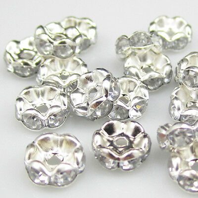 NEW  Charm 100pcs 8MM Plated silver crystal spacer beads white color ZS1