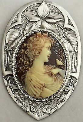 """IVORY & CHOCOLATE COLOR PICTURE CAMEO PICTURE BUTTON On Stamped Brass~2 1/2""""INCH"""