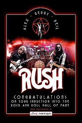 RUSH Rock & Roll Hall of Fame Promotional Poster