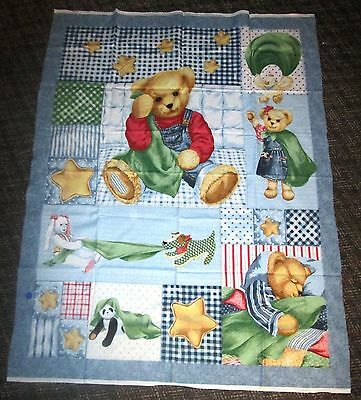 Daisy Kingdom Blue Jean Blankie Bear Crib Quilt Top / Wall Hanging-Free Shipping