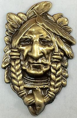 """Large Stamped Brass~Antique And Vintage Inspired""""NATIVE AMERICAN""""~Button~2 1/4"""""""