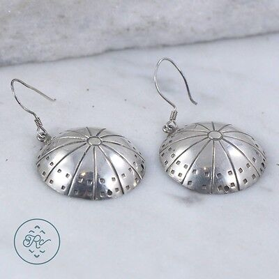 Sterling Silver - TAXCO Ribbed Hand Stamp Dome 7.6g - Dangle Earrings IE5733