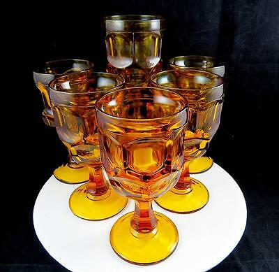 "Libbey Ashburton Amber 6 Piece Stem #3011 Pressed Glass 6 1/4"" Water Goblets"