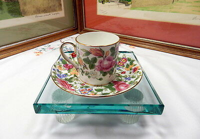"""Crown Staffordshire England """"thousand Flowers"""" 2 1/4"""" Demitasse Cup & Saucer Set"""
