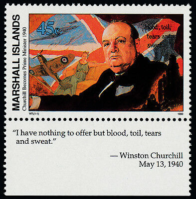 Marshall Islands 251 + label MNH WWII, Churchill, Flag, Aircraft