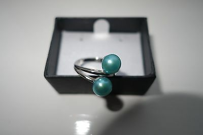 HONORA Cultured DOUBLE OVAL TEAL BLUE 7.5mm PEARL BYPASS RING Sterling Silver 6