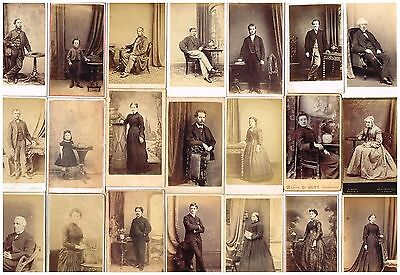 Old Cdv Photos Victorian Studio Portraits With Furniture Props Antique / Vintage