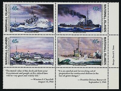 Marshall Islands 260a BR Block MNH WWII, Ships, Destroyers