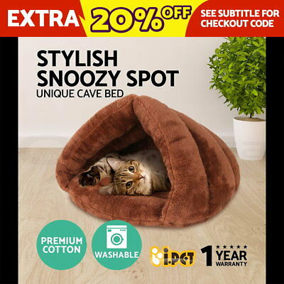 Pet House Sleeping Bed Cave Kitten Cat Dog Puppy Soft Mat Pad Igloo Nest Kennel
