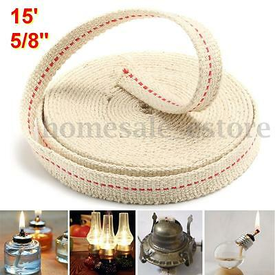 5/8'' 15ft Feet Replacement White Flat Cotton Wick For Oil Lamps and Lanterns