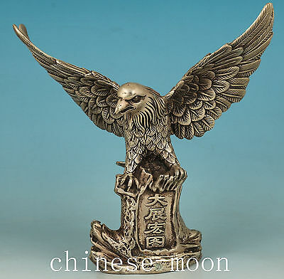 Big Chinese Old Copper Silver Plating Handmade Carved eagle Statue Figure