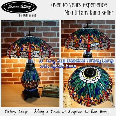 "2016 new arrivals@18"" Classical Blue Dragonfly Top Quality Tiffany Table Lamp"