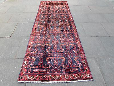 Old Traditional Hand Made Persian Oriental Blue Wool Long Runner Rug 321x111cm