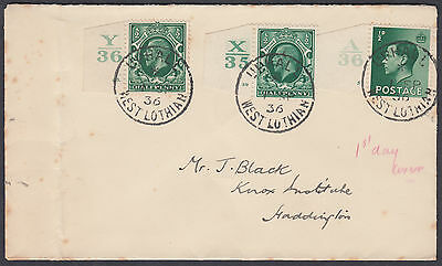 1936 KEVIII 1/2d green A36 Control FDC+KGV X35&Y36 Controls; Uphall/West Lothian
