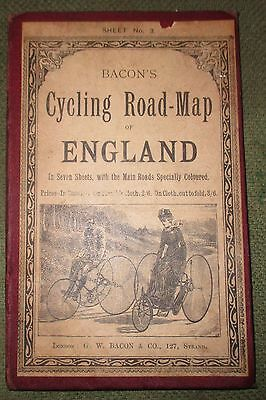 Rare Bacons Cycling Road Map of England Sh. 3 (N wales & Adj Counties)1890-1910?