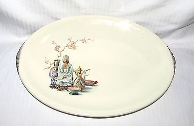 """Paden City Pottery Serving Platter - 12"""" - w Colorful Seated Woman Floral Motif"""