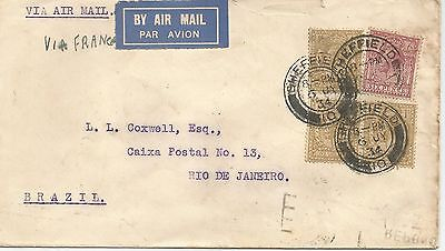 KING GEORGE V TYPED COVER WITH 3/6d VIA FRANCE TO BRAZIL  REF 186