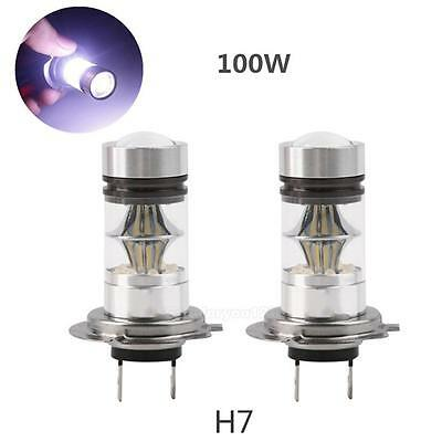 2X H7 100W Cree LED Fog Light 6000K Bright DRL White Headlight Daytime Bulb Lamp