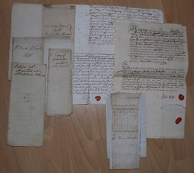 Eight Assorted Paper Documents Relating To Lancashire And Cumberland 1715-1868