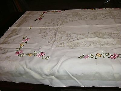 Tablecloth Art Deco Cream Color Damask With Cross Stitched Multi-Colored Roses