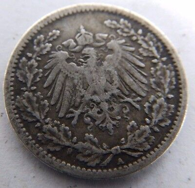 Antique Germany/German Silver Half Mark Coin - 1906