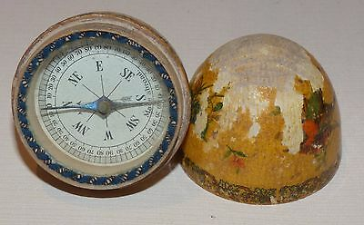 WWM02 - 1950s Compass in wooden egg - 'Made Abroad'