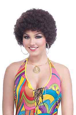 Brown Curly Disco Retro Afro Wig Mens Womens Unisex Costume Wig Hair 70's