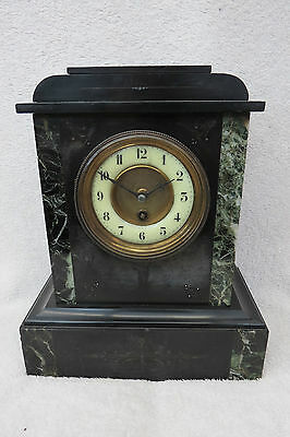 Antique French Black Slate And Marble Mantel Clock For Tlc