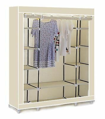 Vinsani Triple Canvas Clothes Cupboard Hanging Rail With Storage Shelves - Cream