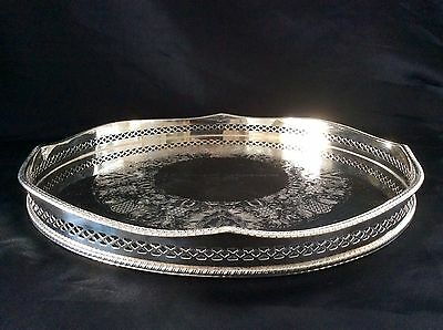 Lovely Vintage Heratage Silver On Copper Rise & Fall Gallery Tray