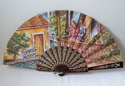 Vtg. PUERTO RICO Senorita Courtship Romantic Balcony Scene Doves Fabric Hand Fan