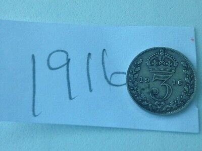 1916 Silver King George V Threepence Coin
