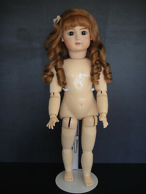 "Antique French Bisque JUMEAU Reproduction doll. 21"". Brown eyes G. BRAVOT"
