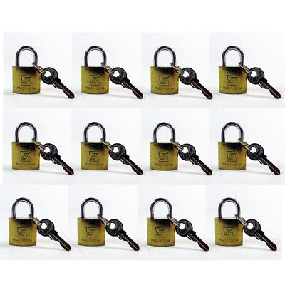 Lot Of 12 Padlock Small Brass 20MM Mini Tiny Lock Keyed Box Jewelry Drawer 2 Key