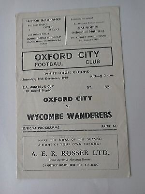 OXFORD CITY V Wycombe Wanderers 14/12/69 FA Ameteur Cup