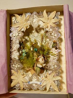 Stunning Antique 1875 Silk Paper Lace BABY LOVE Sweetheart Card #5