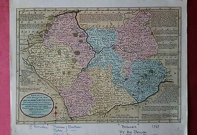 Antique map of leicester and rutland