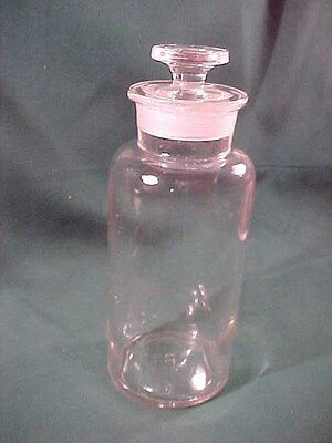 """Old Antique Vintage Apothecary Bottle Jar with Glass Stopper 8"""" High #1"""