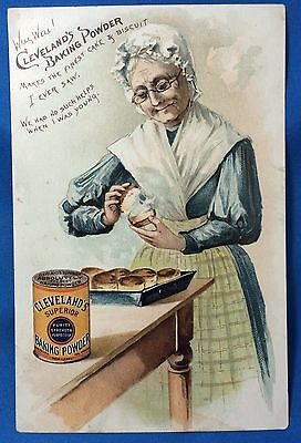 c1890 Cleveland BAKING POWDER Cooking a Husband Victorian Advertising TRADE CARD