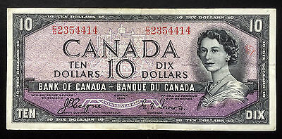 """1954 Bank of Canada $10 """"Devil's Face"""" [Coyne-Towers] aVF"""