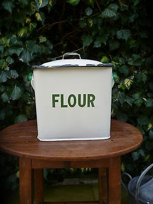 ORIGINAL SMALL VINTAGE 1940s-50s ENAMEL FLOUR BIN KITCHENALIA BREAD