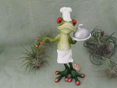 CHEF GREEN TREE FROG HAT APRON BON APPETIT RESIN Foody Whimsical Sculpture