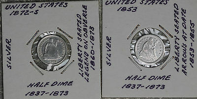 Two Seated Liberty Half Dimes - 1853 and 1872-S