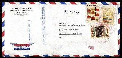 Ecuador airmail Guayaquil cover in Chicago Illinois USA 1978