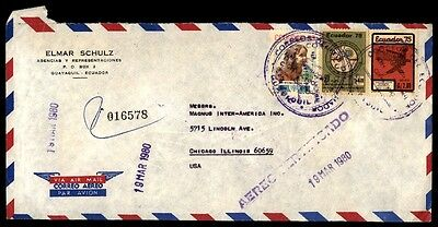 March 19, 1980 Ecuador Guayaquil cover to Chicago Illinois USA