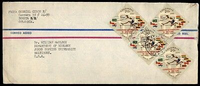 1960s Olympics colorful franking Colombia on cover to Johns Hopkins University